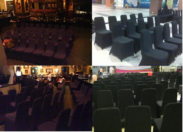 sewa kursi dengan cover warna hitam